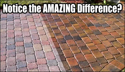 Notice the AMAZING difference a paver sealer can make?